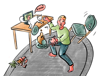 Remote work with a cat procreate video calls funny cats pets illustration