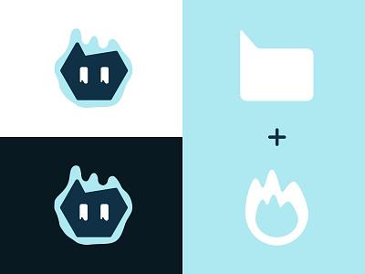 Logo design vector branding cute message fire ghost logo