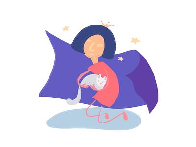 Sleepy illustration cat little girl procreate illustration