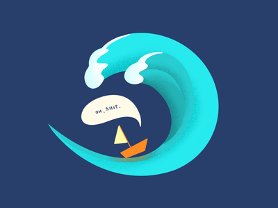 SOS ship wave procreate illustration