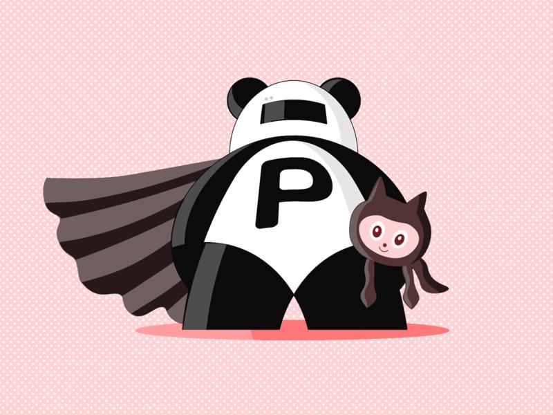 Pull Panda mascot illustrator branding vector illustration pattern pink og illustration octocat panda