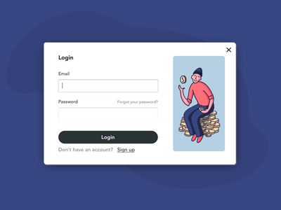 Login modal for a budgeting app ui illustration login modal