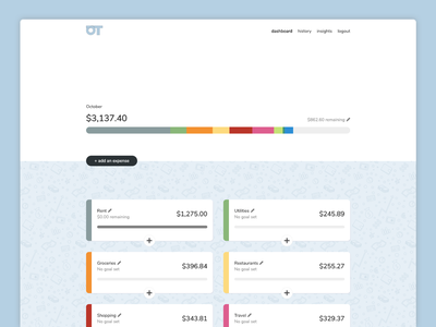 Budgeting app dashboard design logo background pattern open source finance budgeting web design ui ux