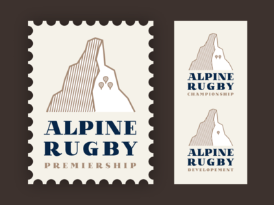 Alpine Rugby Premiership Logo #1 alpine alps logo retro stamp rugby rugby union alpine rugby premiership