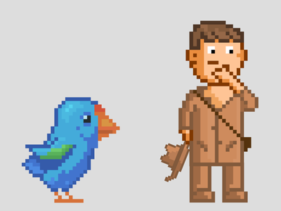 Dr Orbell and the Takahe pixel app illustration icon vector design pixel art