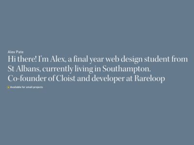 Landing page for new portfolio typography splash