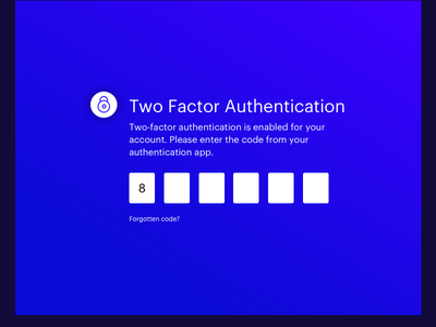 Two Factor Authentication blue gradients 2fa ui