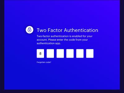 Two Factor Authentication blue gradients 2fa ui
