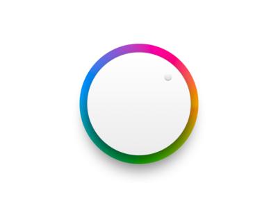 Hue toggle wheel skeuomorphic toggle button knob toggle gradient hue ui