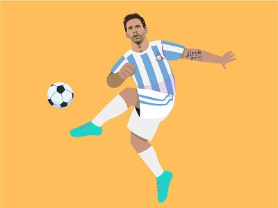 Lionel Messi kicking the ball pelota design argentina illustration football messi
