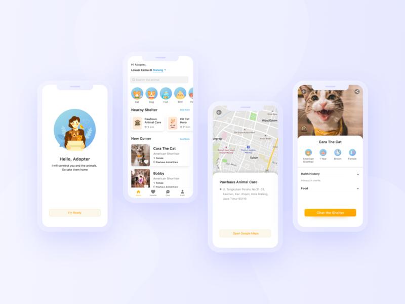 Pet Adoption App concept ux design ux casestudy app ui  ux digital mockup ui ux ui ux design uidesign ui design