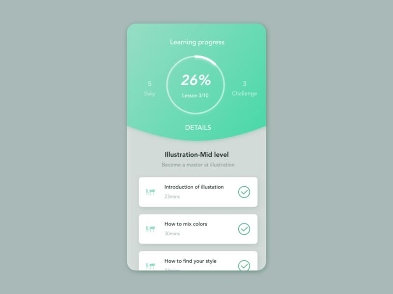 Learning progress UI concept uiux uiux design progressbar card detail page app design ui