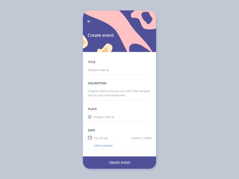 create event UI concept ux vector uiuxdesign uiux illustration card detail page app design ui