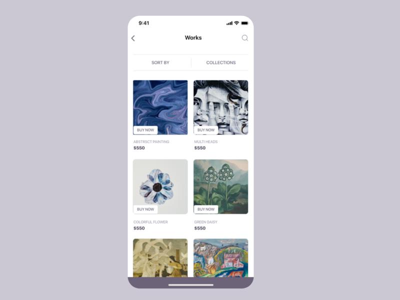 Artwork app UI concept 2 art app flower uiuxdesign uiux card detail page app design ui