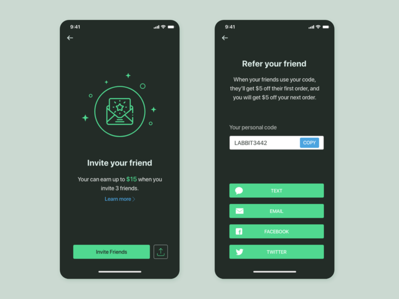 invite friend UI concept invitation dark mode uiuxdesign referral invite uiux card detail page app design ui