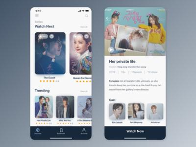 K-Drama app UI concept