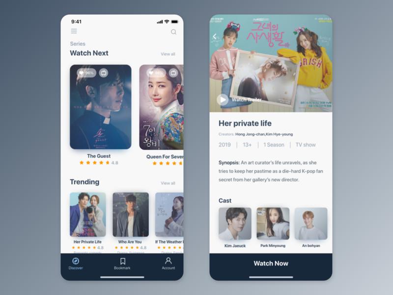 K-Drama app UI concept movie app uiux design tv app drama movie uiux card detail page app design ui