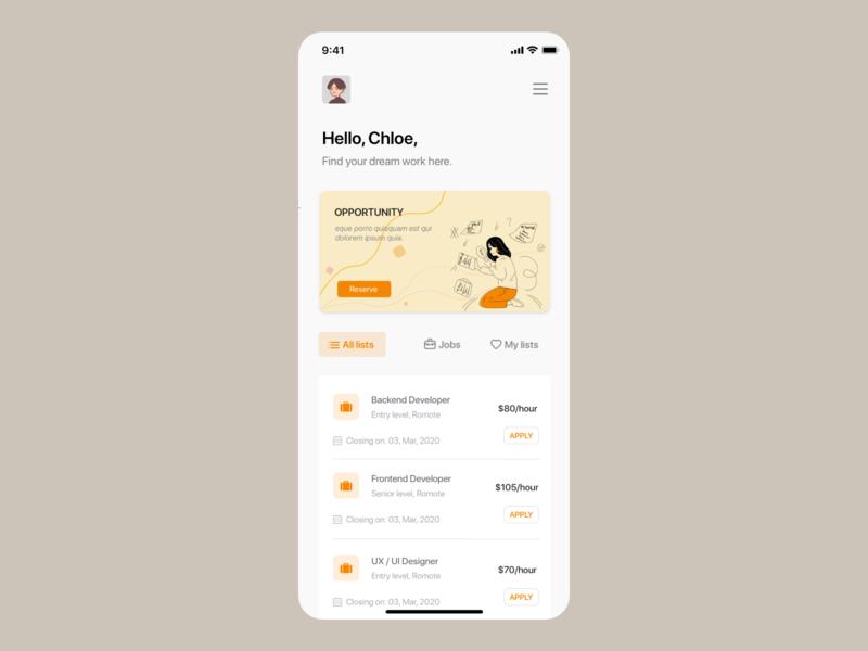 Job finder app UI concept job listing job illustration uiuxdesign uiux card detail page app design ui