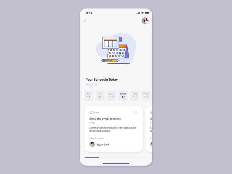 Schedule management app UI concept schedule app task management task app schedule task uiuxdesign uiux card detail page app design ui