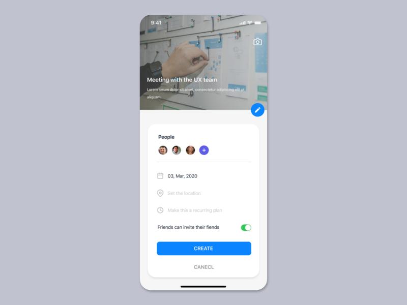 Create event UI concept task management productivity app teamwork event project management uiuxdesign uiux card detail page app design ui