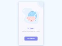 welcome page UI of sleep app