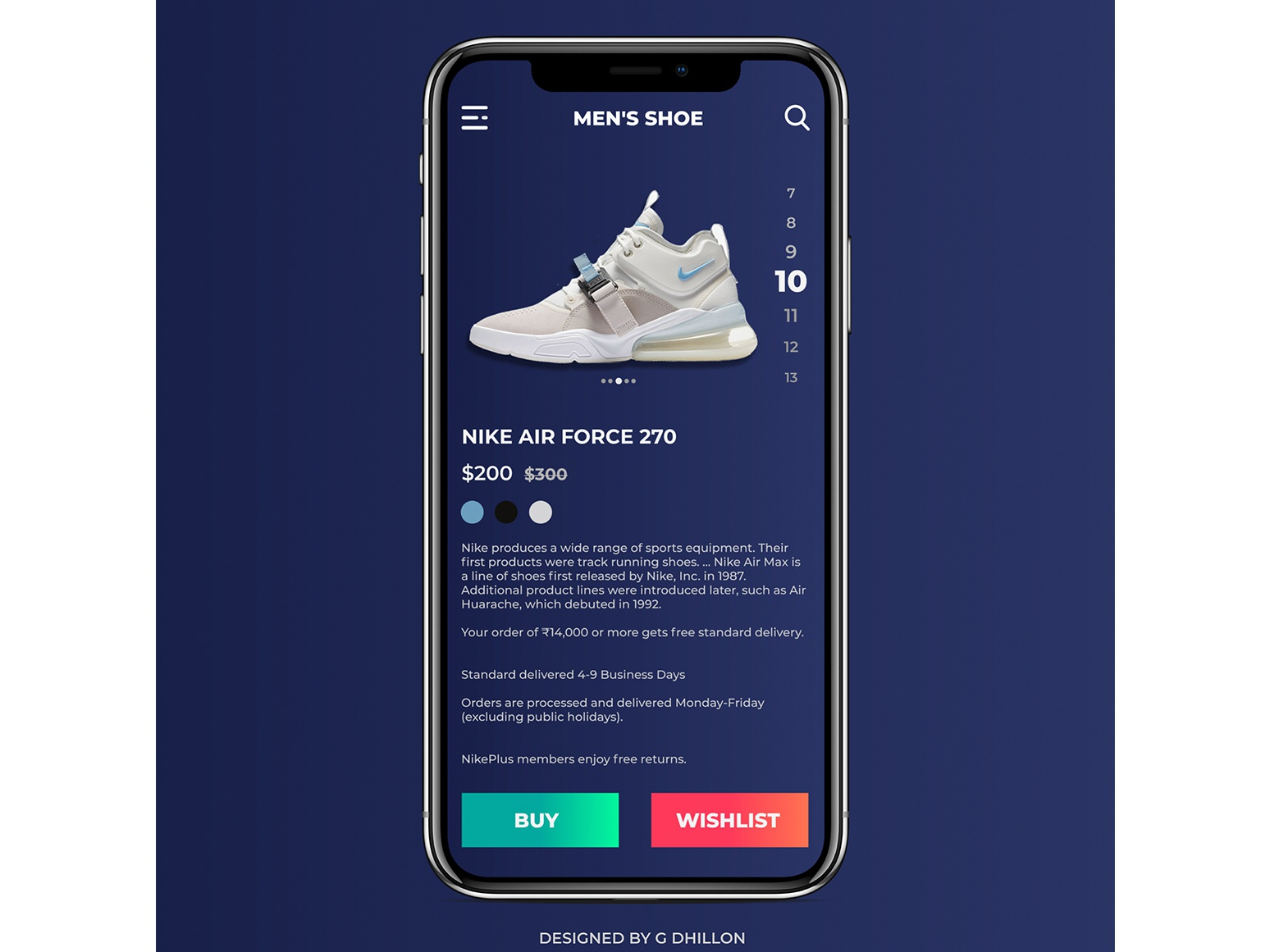 Nike Shoe App clean illustrator mobile ios minimal branding ux website web design web ui vector typography photoshop illustration design