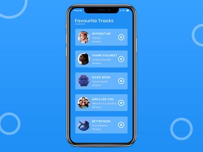 Muisc App (Favourite Track List) Screen Design