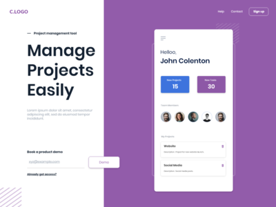 Project Management App Landing Page