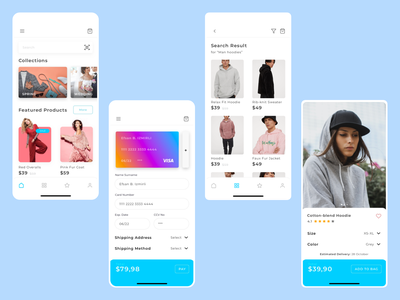 Marier UI Kit for Shopping shopping cart payment card search search result featured products for you collection user interface uidesign ui  ux ui shopping app sketch mobile app application app mobile shopping