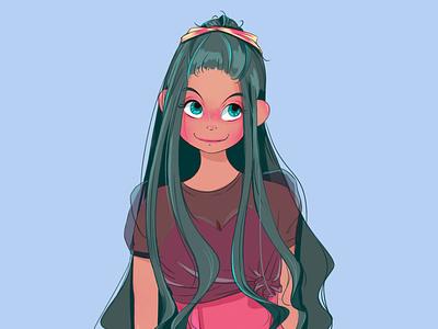 Summer girl illustratio