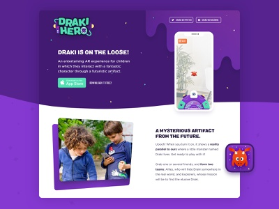 Draki Hero - Landing Page color ux ui dragon children kids augmented reality landing page marketing sideproject z1 videogames videogame icon web app design branding illustration landing