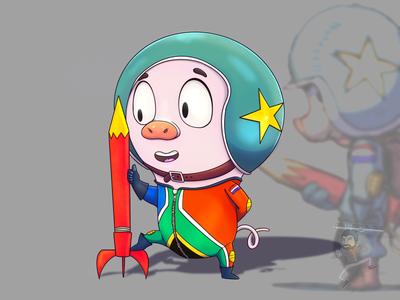 Rocket Pig pig rocket character cartoon coffeescartoon