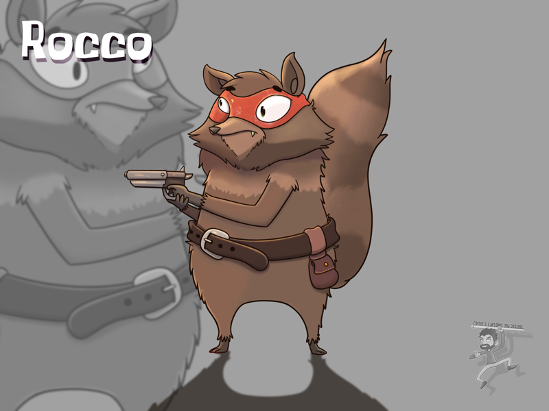 Rocco cute gun gunslinger raccoon cartoon coffeescartoon