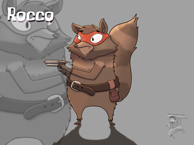 Rocco cute gun gunslinger raccoon cartoon coffeescartoon