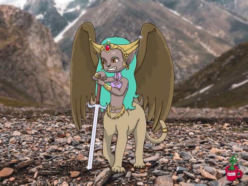 Liala the Warrior Sphinx sword wings lioness cartoon sphinx coffeescartoon