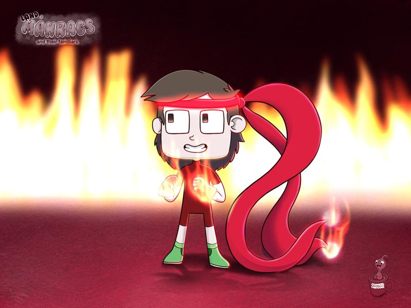 Gunner Vass the fierce little fighter. fire red fighter gunner cartoon coffeescartoon