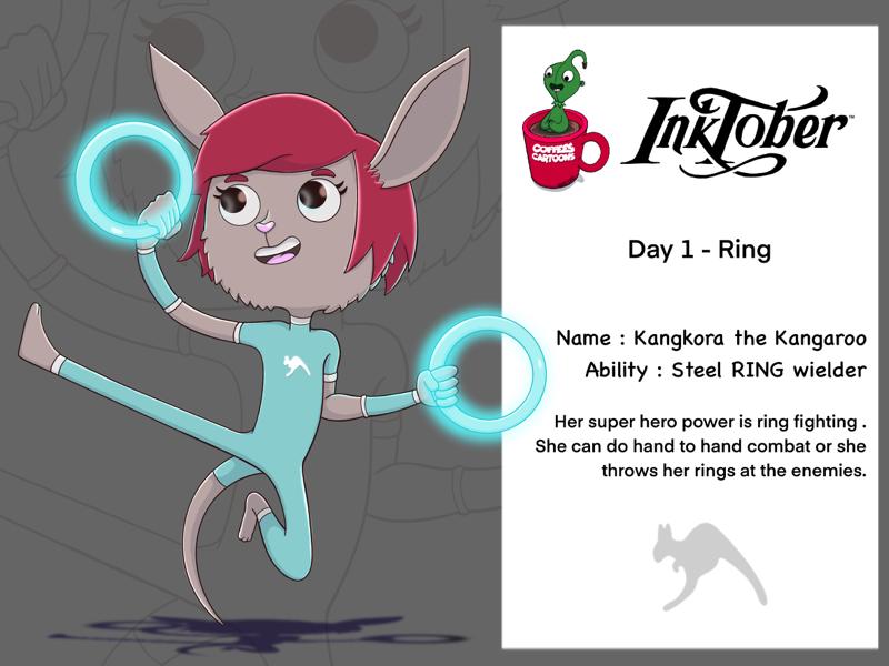 Day 1 Ring mycharacter dribbble superhero kangaroo cartoon coffeescartoon