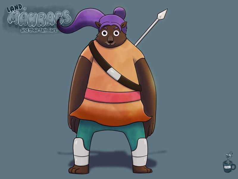 Pixi the spear warrior bear purple spear bear cartoon coffeescartoon