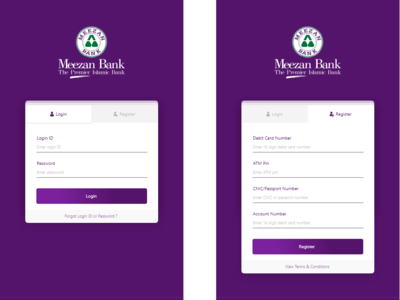 Meezan Bank Registration and Login Screens Redesign