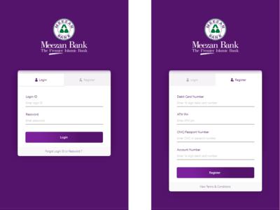 Meezan Bank Registration and Login Screens Redesign
