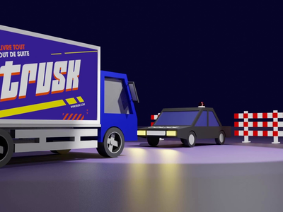 Police Roadblock Animation render animation illustration design lowpolyart lowpoly police truck transport cyclesrender blender low poly 3d art 3d animation