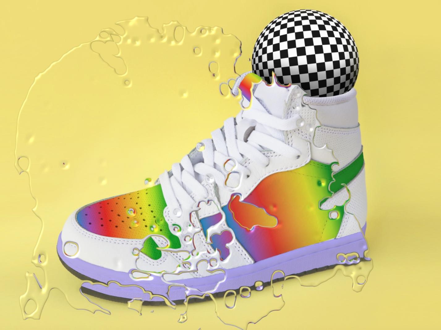 Sneaker Illustration illustrator poster nike setdesign contemporary art printdesign design graphic graphicdesign distort aftereffect 3d illustrated shoe sneaker illustration