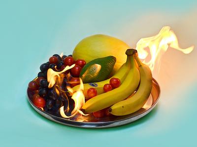 Burning Fruits Still life