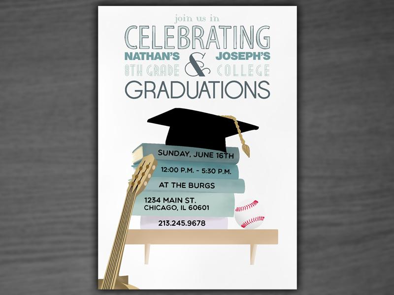 Graduation Party Invite  graduation celebration college 8th-grade graduations card invite cap guitar ball baseball shelf books stack book-stack party
