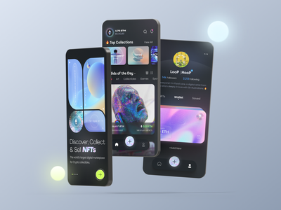 NFT Mobile App ios gifs figma mobileapp crypto marketplace nft ui