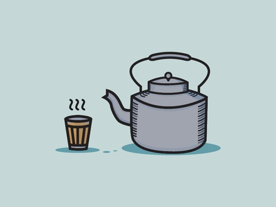 A glass of Tea and a Kettle