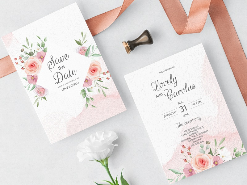 Wedding invitation card set template