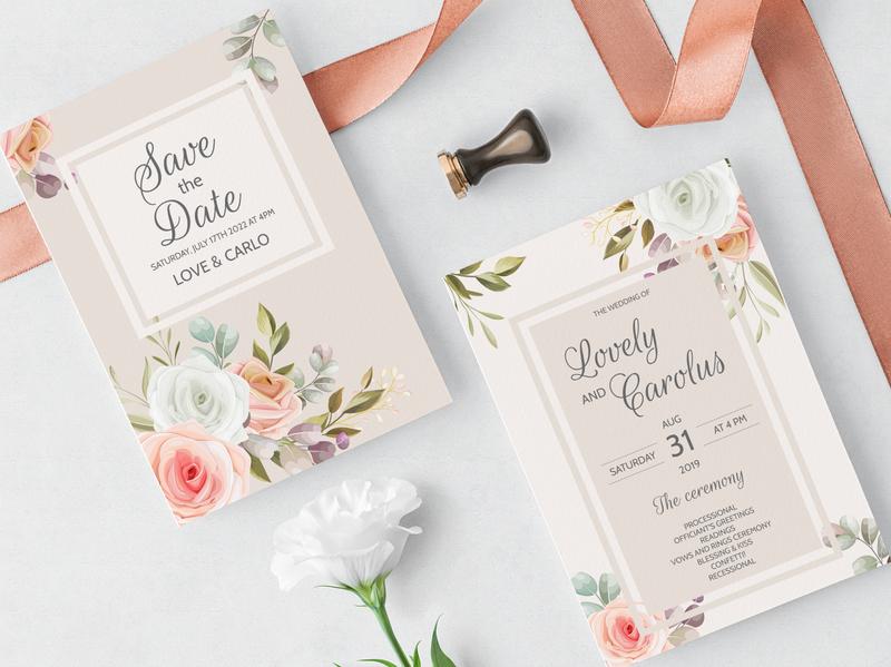 Wedding Invitation Card Floral Leaves