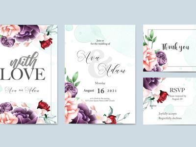 Floral watercolor wedding invitation template set