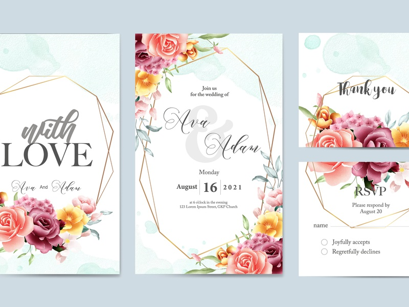 Floral Watercolor Wedding Invitation Template Set By Dino Mikael On